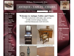 Website Design: Antique Tables and Chairs