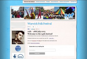 Website Design: Warwick Folk Festival